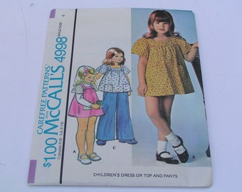 Vintage McCalls Pattern 4998 Child Dress Top Pants