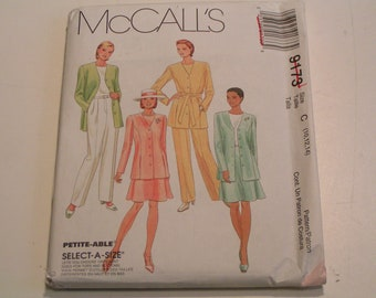 McCalls Pattern 9173 Miss Unlined Jacket Top Pants Skirt Sash