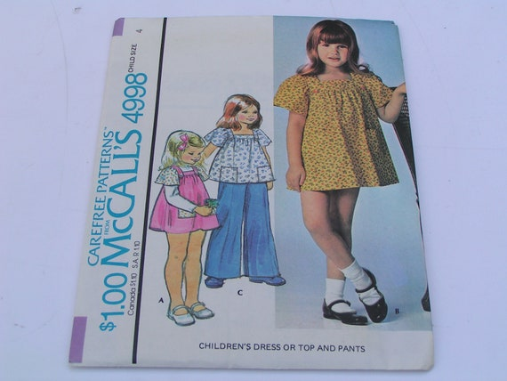 Vintage McCalls Pattern 4998 Child Dress Top Pants
