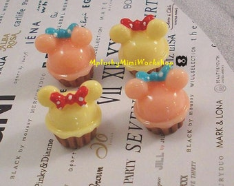 3D Cute Mouse Cake Cabochon 2pc 16mm x 15mm
