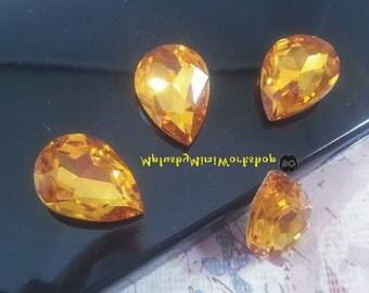 Water Droplets Yellow Rhinestone 1pc - High quality 18mmx13mm
