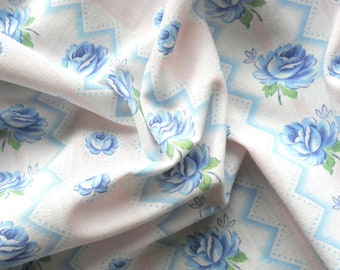 vintage fabric for patchwork quilting fabric antique fabric blue roses and pink stripes french fabric 93