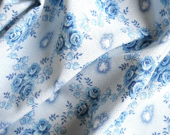 vintage french fabric patchwork quilting fabric antique fabric teal french floral fabric 97