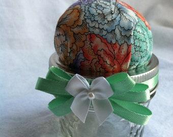 Pin Cushion Jar -Teal, Coral and Lavender