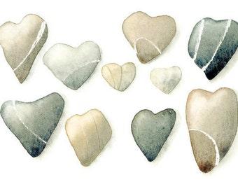 Heart Pebbles watercolor - 6x8 Fine art giclee print, archival reproduction - Natural home decor, grey brown beige wall art, beach decor