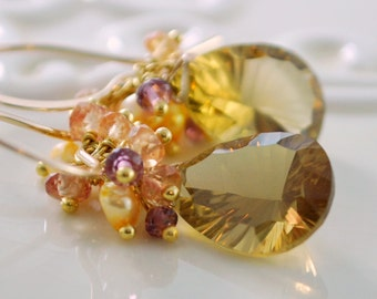 Fall Wedding Jewelry Gemstone Earrings Bridal Warm Honey Quartz Genuine Sapphire Rhodolite Garnet - Indian Summer - Free Shipping