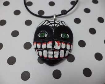 OOAK Hand Painted Day of the Dead Sugar Skull Necklace
