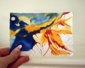 Original Small painting shades of Blue, Yellow, Red