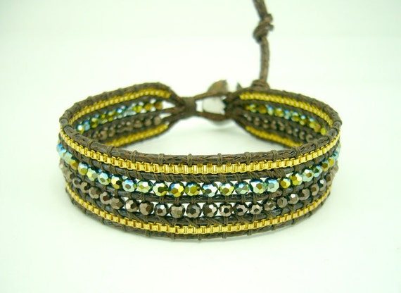 Gold plated box chain crystal bracelet.