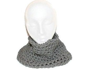 Mens Cowl Scarf,  Mens Infinity Scarf,  Womens Gray Scarf, Gray Infinity Scarf, Crochet Hood, Gray Cowl, Mens Neckwarmer, Grey Cowl