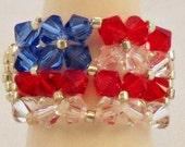 AMERICAN FLAG Swarovski Crystal Wrap Ring-Clear