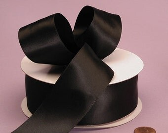 """Black Satin Ribbon (double faced) 1.5"""" wide  - 3 yards"""