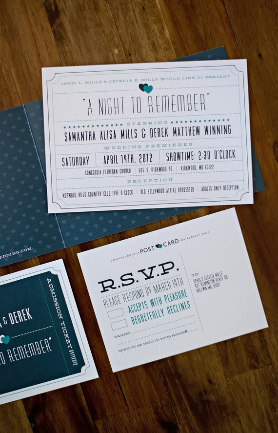 Items similar to Theater Ticket Wedding Invitation on Etsy