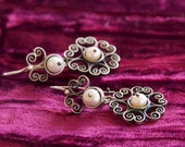 The perfect Christmas Gift. Vintage Silver (.925) Rosette Earrings with Pearls