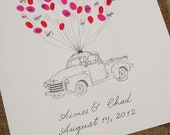 Floating Truck: Hand Drawn Thumbprint Guest Book Small Size Fits 30-70 Thumbs
