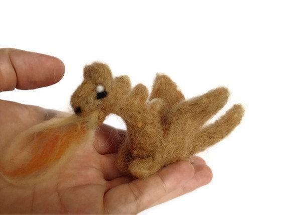 Miniature Dragon Sculpture - Needle Felted Sun Dragon Amigurumi Felt Figurine