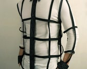 Futuristic cage shirt with buttons in Black