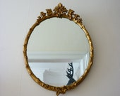 Vintage 1950's Ornate Gold Gilt Framed Mirror - Regency Style with Fig Leaves