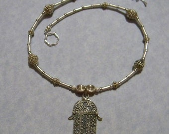 Silver Necklace with Oxidized Silver Hamsa Pendant and Silver Bali Beads