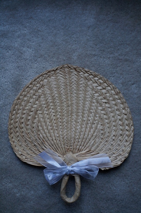 tropical raffia fans for wedding or special event