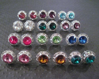SET OF 5 PAIR--Crystal Studs/ Swarovski Earrings/ Bridesmaid Earrings/ Bridal Jewelry/ Wedding Jewelry/ Halo Earrings/ Bridesmaid Gift