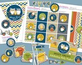 Owl Baby Shower DIY Party Printables Package. MODERN COLORS. Fun chevron pattern. Owl themed party printables customized just for you.