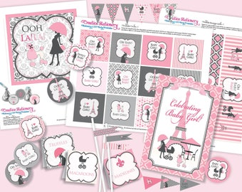 Chic PARIS Baby Shower DIY Party Printables Package. Pink, Black and White. Party Printables customized just for you.