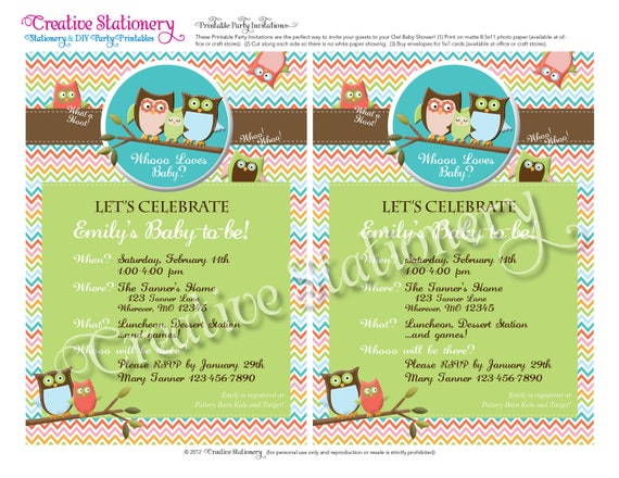Owl Baby Shower DIY Party Invitation. Gender Neutral. Fun chevron pattern. Customized just for you. Coordinates with Owl Party Package.