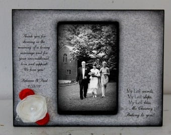 Father Daughter Dance, Daddy and Me, Picture Frame Gift, Personalized Wedding Gift, Mother of the bride, Modern Black Red Flowers, Wedding