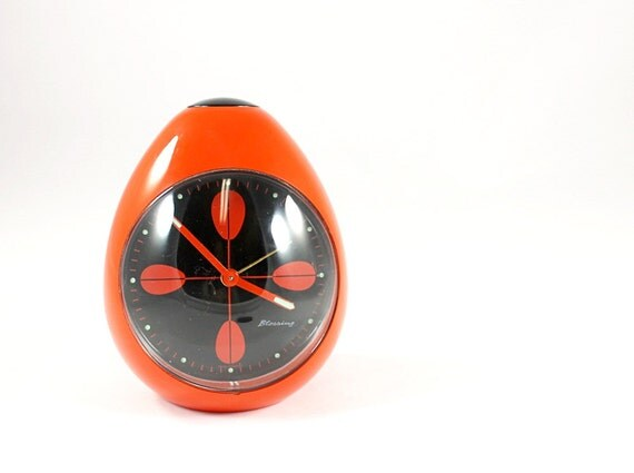 RESERVED For KIMBERLY BASILICO - Vintage Retro Mod Blessing Egg Shaped Alarm Clock in Orange And Black  - West Germany