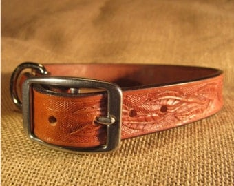 Personalized hand tooled Leather Dog  Collar