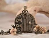 Fairy Door Locket, Garden Door Necklace, Twining Bronze Leaves and Tan Glass Flowers Necklace