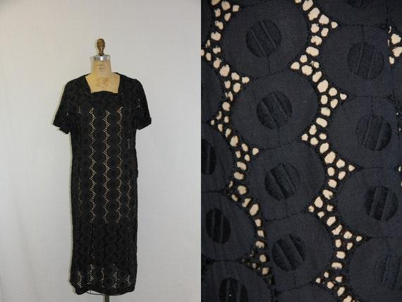 XXL Vintage Dress Peekaboo Black Lace 1950s