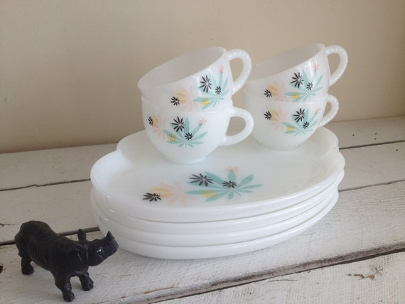 Vintage Milk Glass Snack Set Federal Glass Co Vintage Milk