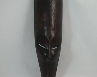 Vintage African Dark Wood Mask  Petrified wood (Wall Hanging)