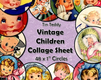 Vintage Children Digital Collage Sheet  - 1 Inch Circles x 48  - Perfect for Jewelry, Bottle Caps - Instant Download