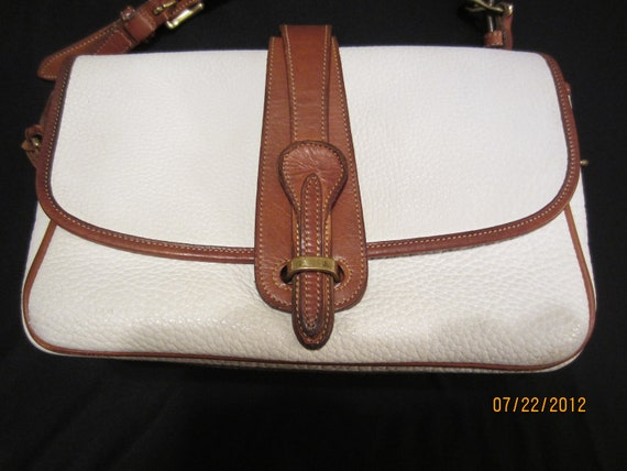 Vintage Dooney and Bourke Authentic White Leather Purse with Brown Leather Trim Very NIce Purse