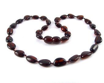 Authentic Baltic Amber Baby Teething Necklace Cherry color Beads