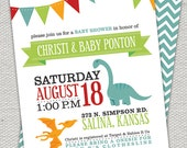 Double Sided Bright Colored Dinosaur Baby Shower Invitation