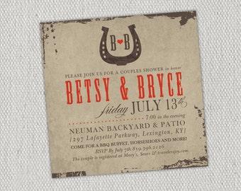Horseshoe Rustic Couple's  Shower Invitation