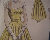 Vintage 1940s, 1950s Vogue Special Design 4883 Evening Gown and Slip Sewing Pattern, Size 14, Bust 32