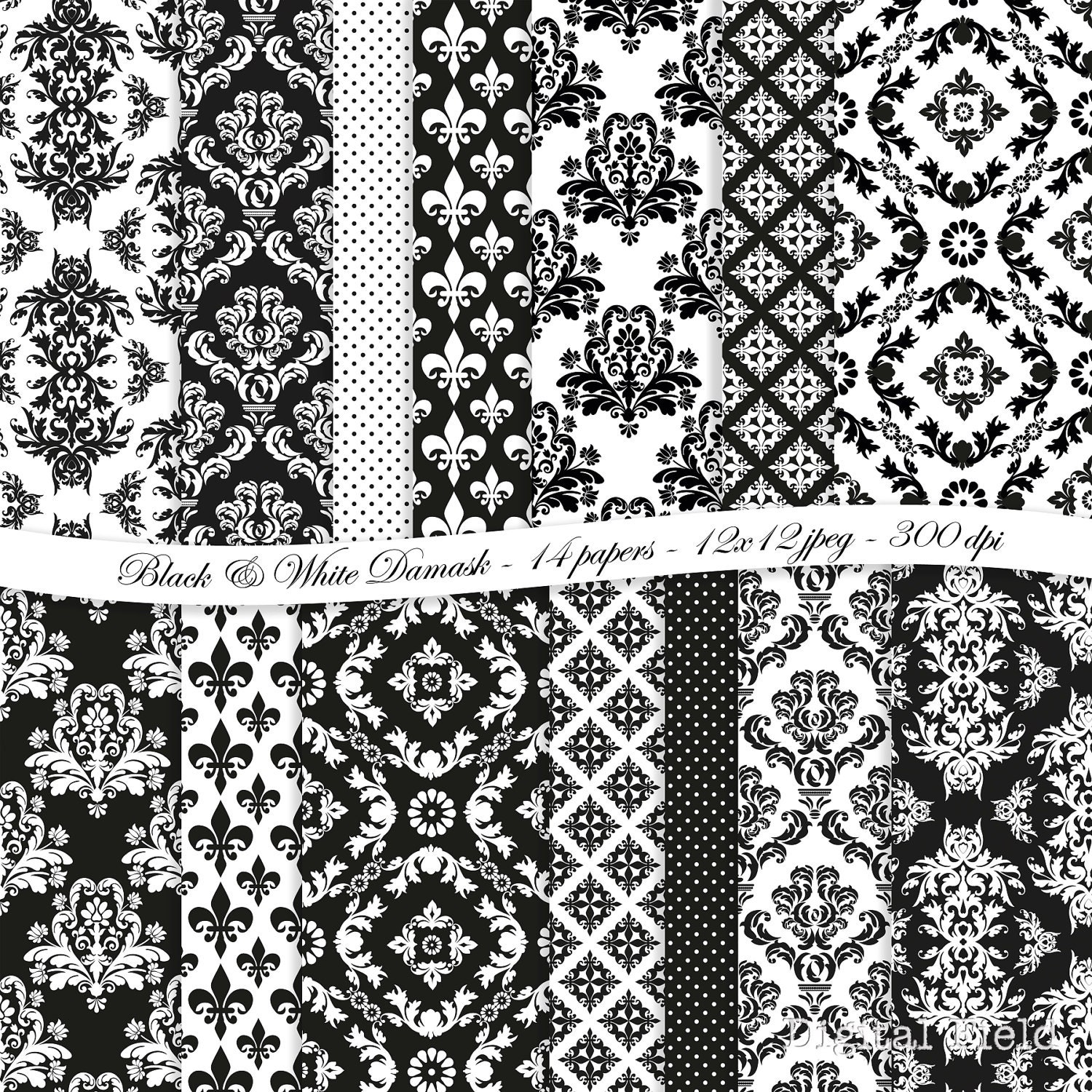 Black and White Damask digital scrapbooking paper by ...