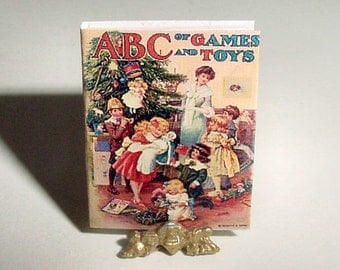 Dollhouse Miniature Book - ABC of GAMES and TOYS Alphabet Book - Miniature One Inch 1/12 Scale Childrens Picture Book Dollhouse Accessory