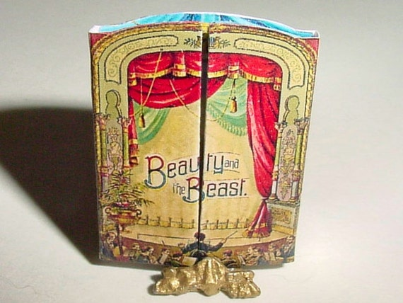Miniature BEAUTY and the BEAST Theater Stage Book - McLoughlin Bros - 1891 - One Inch Scale Fairy Tale Story Book Dollhouse Accessory