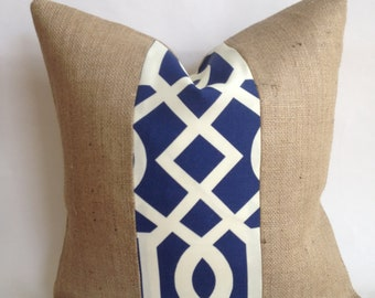 Navy and White Outdoor Fabric and Burlap Pillow Cover