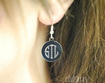 engraved circle monogram earrings
