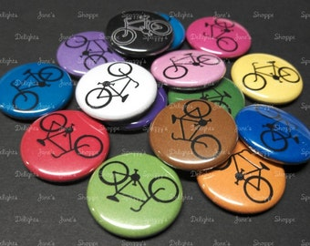 """Bicycle / Bike Flatback / Pinback / Hollowback (1"""" / 25mm OR 1.25""""/31mm) Set of 15. Buttons Party Favors / DIY Projects"""