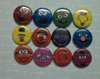 "Sesame Cute Street Faces Flatback / Pinback / Hollowback (1inch 25mm / 1.25"" 31mm) Set of 12. Buttons Party Favors / DIY Projects"