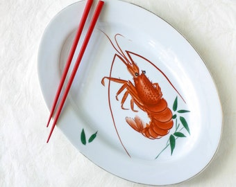 Vintage Japanese Serving Platter Shrimp Prawn Bamboo Hand Painted