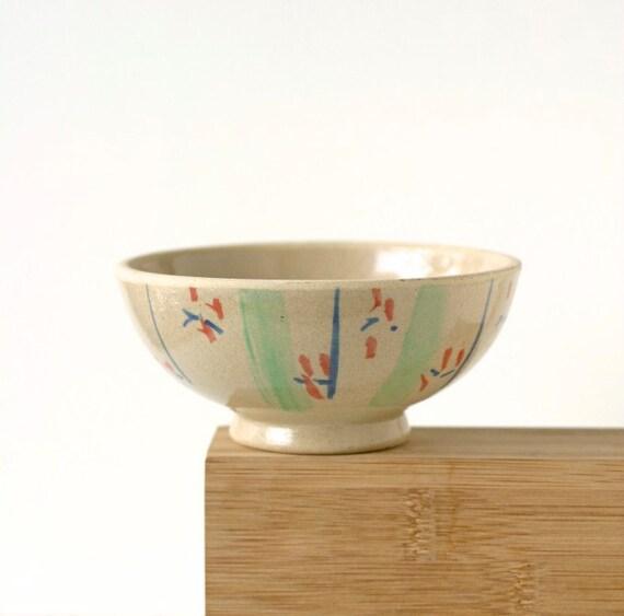 Vintage Asian Rustic Stoneware Pottery Rice Bowl Chawan
